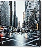 People Walking On City Street Acrylic Print