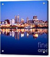Peoria Illinois Skyline At Night Acrylic Print by Paul Velgos