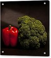 Pepper Nd Brocoli Acrylic Print by Peter Tellone