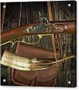 Percussion Cap And Ball Rifle With Powder Horn And Possibles Bag Acrylic Print