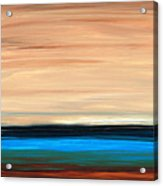 Perfect Calm - Abstract Earth Tone Landscape Blue Acrylic Print by Sharon Cummings