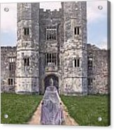Period Lady In Front Of A Castle Acrylic Print