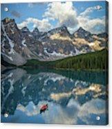 Person In Canoe On Moraine Lake, Banff Acrylic Print