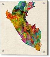 Peru Watercolor Map Acrylic Print