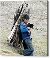 Peruvian Boy Gathers Wood Acrylic Print