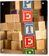 Peter - Alphabet Blocks Acrylic Print