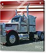 Peterbilt With Burgundy Abstract Acrylic Print
