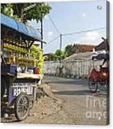 Petrol Stall And Cyclo Taxi In Solo City Indonesia Acrylic Print