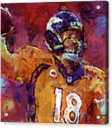 Peyton Manning Abstract 5 Acrylic Print by David G Paul