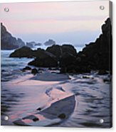 Pfeiffer Beach Rocks, Purple Sand And Acrylic Print