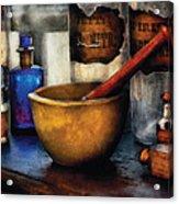 Pharmacist - Mortar And Pestle Acrylic Print by Mike Savad
