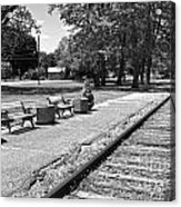 Phelps Ny Train Station In Black And White Acrylic Print