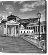 Philadelphia Art Museum And Waterworks 11 Bw Acrylic Print