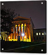 Philadelphia Art Museum  At Night From The Rear Acrylic Print