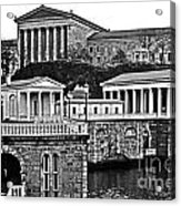 Philadelphia Art Museum At The Water Works In Black And White Acrylic Print