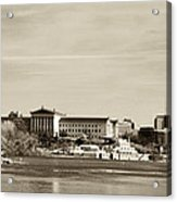 Philadelphia Art Museum With Cityscape In Sepia Acrylic Print