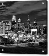 Philadelphia Black And White Cityscape Acrylic Print