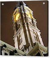 Philadelphia City Hall Clock Tower At Night Acrylic Print by Gary Whitton
