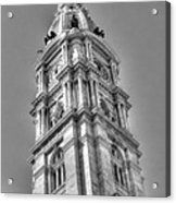 Philadelphia City Hall Tower Bw Acrylic Print