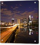 Philadelphia Cityscape From South Street At Night Acrylic Print