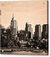 Philadelphia Cityscape In Sepia Acrylic Print