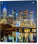 Philadelphia Cityscape Panorama By Night Acrylic Print