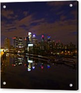 Philadelphia From South Street At Night Acrylic Print by Bill Cannon