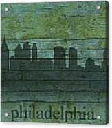 Philadelphia Pennsylvania Skyline Art On Distressed Wood Boards Acrylic Print