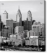 Philadelphia Skyline Black And White Bw Pano Acrylic Print