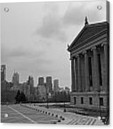 Philadelphia Skyline Black And White Acrylic Print