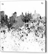 Philadelphia Skyline In Black Watercolor On White Background Acrylic Print