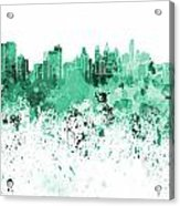 Philadelphia Skyline In Green Watercolor On White Background Acrylic Print