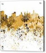 Philadelphia Skyline In Orange Watercolor On White Background Acrylic Print