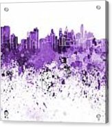 Philadelphia Skyline In Purple Watercolor On White Background Acrylic Print