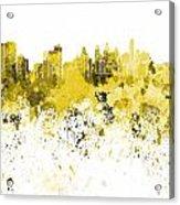 Philadelphia Skyline In Yellow Watercolor On White Background Acrylic Print