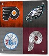 Philadelphia Sports Fan Recycled Vintage Pennsylvania License Plate Art Flyers Eagles 76ers Phillies Acrylic Print