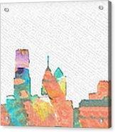 Philadelphia Watercolor Cityscape Acrylic Print