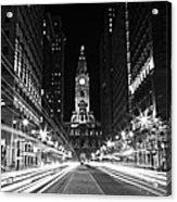 Philadephia City Hall -- Black And White Acrylic Print