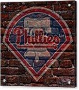 Phillies Baseball Graffiti On Brick  Acrylic Print by Movie Poster Prints