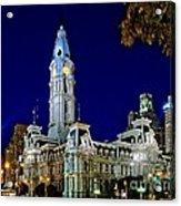 Philly City Hall At Night Acrylic Print