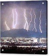 Phoenix Arizona City Lightning And Lights Acrylic Print by James BO  Insogna