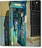 Phone Booth In Blues - Oporto Acrylic Print