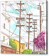 Phone Poles In An Alley - Westwood - California Acrylic Print