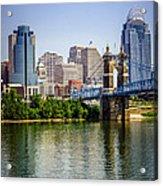Photo Of Cincinnati Skyline And Roebling Bridge Acrylic Print