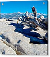Photographer On Top Of Sentinel Dome In Yosemite Np-ca  Acrylic Print
