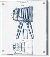 Photographic Camera Patent Drawing From 1885- Blue Ink Acrylic Print