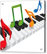 Piano Keyboard And 3d Music Notes Illustration Acrylic Print