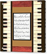 piano keys sheet music to Keep Of The Promise by Kristie Hubler Acrylic Print