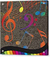 Piano Wavy Border With Colorful Keys And Music Note Acrylic Print