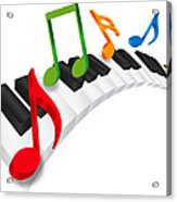 Piano Wavy Keyboard And Music Notes 3d Illustration Acrylic Print